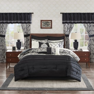 Madison Park Essentials Simone Black 24-Piece Room in a Bag-Window Panels & Sheet Set Included