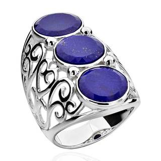 Sterling Silver Round Lapis 3-stone Shield Ring (China)