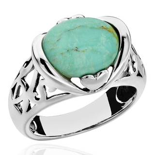Sterling Silver Oval Turquoise Antique Finish Solitaire Ring (China)