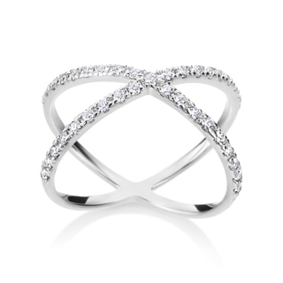 Andrew Charles 14k White Gold 2/5ct TDW Diamond Criss Cross Ring (H-I, SI1-SI2)