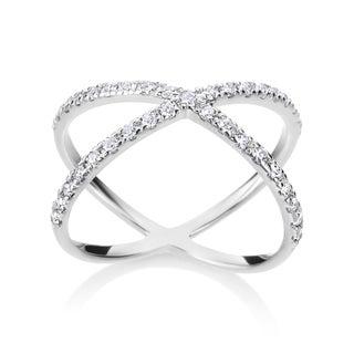 SummerRose 14k White Gold 2/5ct TDW Diamond Criss Cross Ring