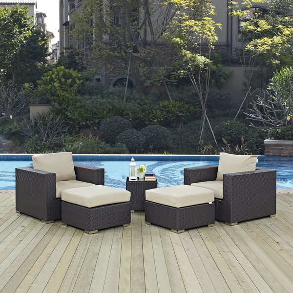 Gather 5 Piece Outdoor Patio Sectional Set. Opens flyout.