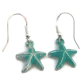 Mama Designs Handmade Sterling Silver Turquoise Starfish Dangle Earrings