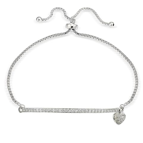 Icz Stonez Silver Cubic Zirconia Heart and Bar Adjustable Slider Bracelet