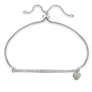 Icz Stonez Silver Cubic Zirconia Heart and Bar Adjustable Slider Bracelet