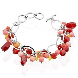 Sterling Silver Oval Link Multi Coral Beaded Toggle 8.5-inch Bracelet (China)