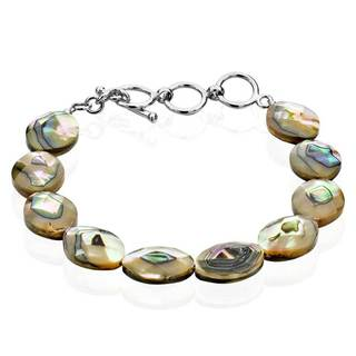 Sterling Silver Oval Abalone Shell Adjustable Toggle 8.5-inch Bracelet (China)