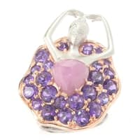 Michael Valitutti Pink Sapphire Heart and African Amethyst Ballerina Ring