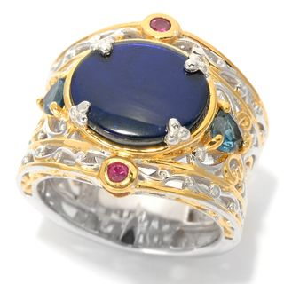 Michael Valitutti Ammolite, London Blue Topaz and Ruby Ring