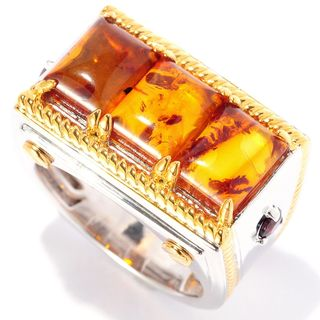 Michael Valitutti Blatic Amber and Garnet Men's Ring