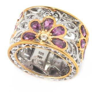Michael Valitutti Floral Rhodolite and White Sapphire Ring
