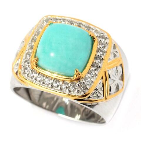 Michael Valitutti Amazonite and White Topaz Men's Ring