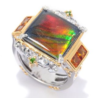 Michael Valitutti Ammolite, Chrome Diopside and Madeira Citrine Ring