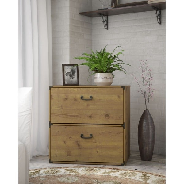 Kathy Ireland Office Ironworks Vintage Golden Pine Lateral File Cabinet