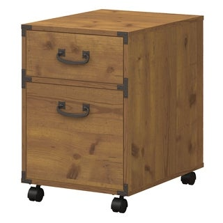 kathy ireland Office Ironworks 2 Drawer Mobile Pedestal in Golden Pine