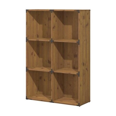 kathy ireland® Office Ironworks 6 Cube Bookcase in Vintage Golden Pine