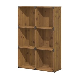 kathy ireland Office Ironworks Vintage Golden Pine 6 Cube Bookcase