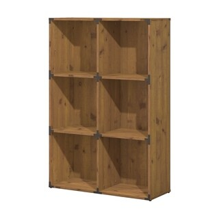 kathy ireland® Office Ironworks 6 Cube Bookcase in Vintage Golden Pine
