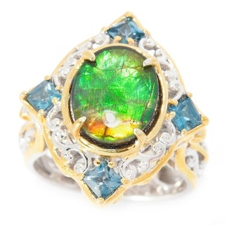 Michael Valitutti Ammolite and London Blue Topaz Ring