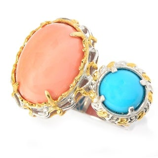 Michael Valitutti Salmon Coral and Sleeping Beauty Turquoise Ring