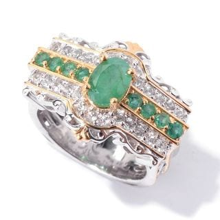 Michael Valitutti Emerald and White Topaz Ring