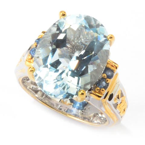 Michael Valitutti Aquamarine and Blue Sapphire Ring