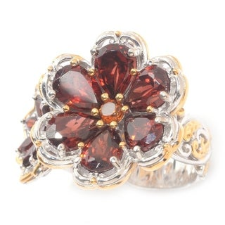 Michael Valitutti Garnet and Madeira Citrine Flower Ring