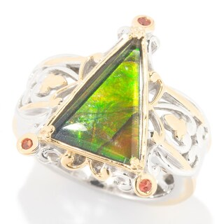 Michael Valitutti Ammolite and Dark Orange Sapphire Ring (More options available)