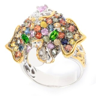 Michael Valitutti Pink Sapphire, Chrome Diopside and Multi Sapphire Elephant Ring