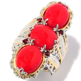 Michael Valitutti Red Coral and Garnet Ring