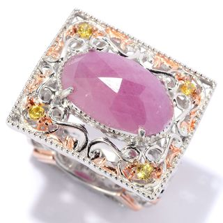 Michael Valitutti Versaille Ceiling Fan Opaque Pink Sapphire and Yellow Sapphire Ring