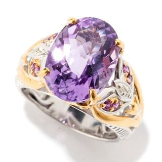 Michael Valitutti Brazillian Amethyst, Diamond and Rhodolite Floral Ring