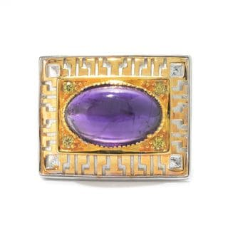 Michael Valitutti Versaille Ceiling Fan African Amethyst and Yellow Sapphire Ring