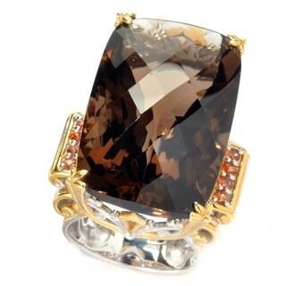 Michael Valitutti Smokey Quartz and Dark Orange Sapphire Ring
