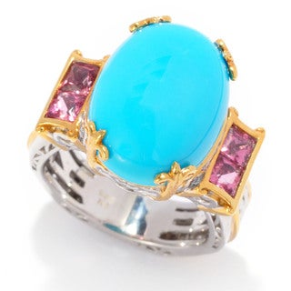 Michael Valitutti Sleepign Beauty Turquoise and Pink Tourmaline Ring