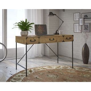 kathy ireland Office Ironworks Vintage Golden Pine 48W Writing Desk|https://ak1.ostkcdn.com/images/products/11589863/P18529803.jpg?impolicy=medium