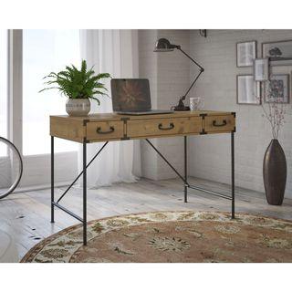 kathy ireland Office Ironworks Vintage Golden Pine 48W Writing Desk