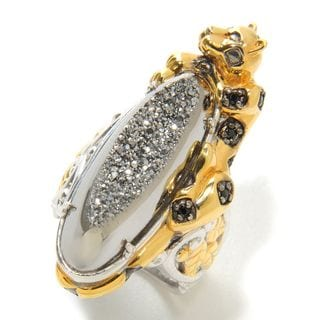 Michael Valitutti Leopard Druzy and Black Spinel Ring