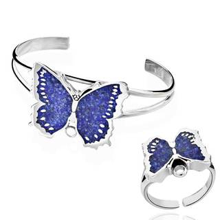 Sterling Silver Lapis Butterfly Cuff Bracelet with Detachable Ring (China)