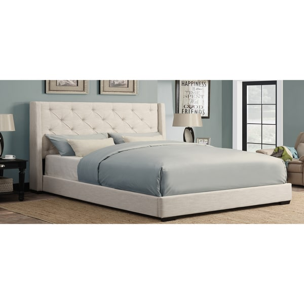 cream wingback button tufted king size upholstered bed - free