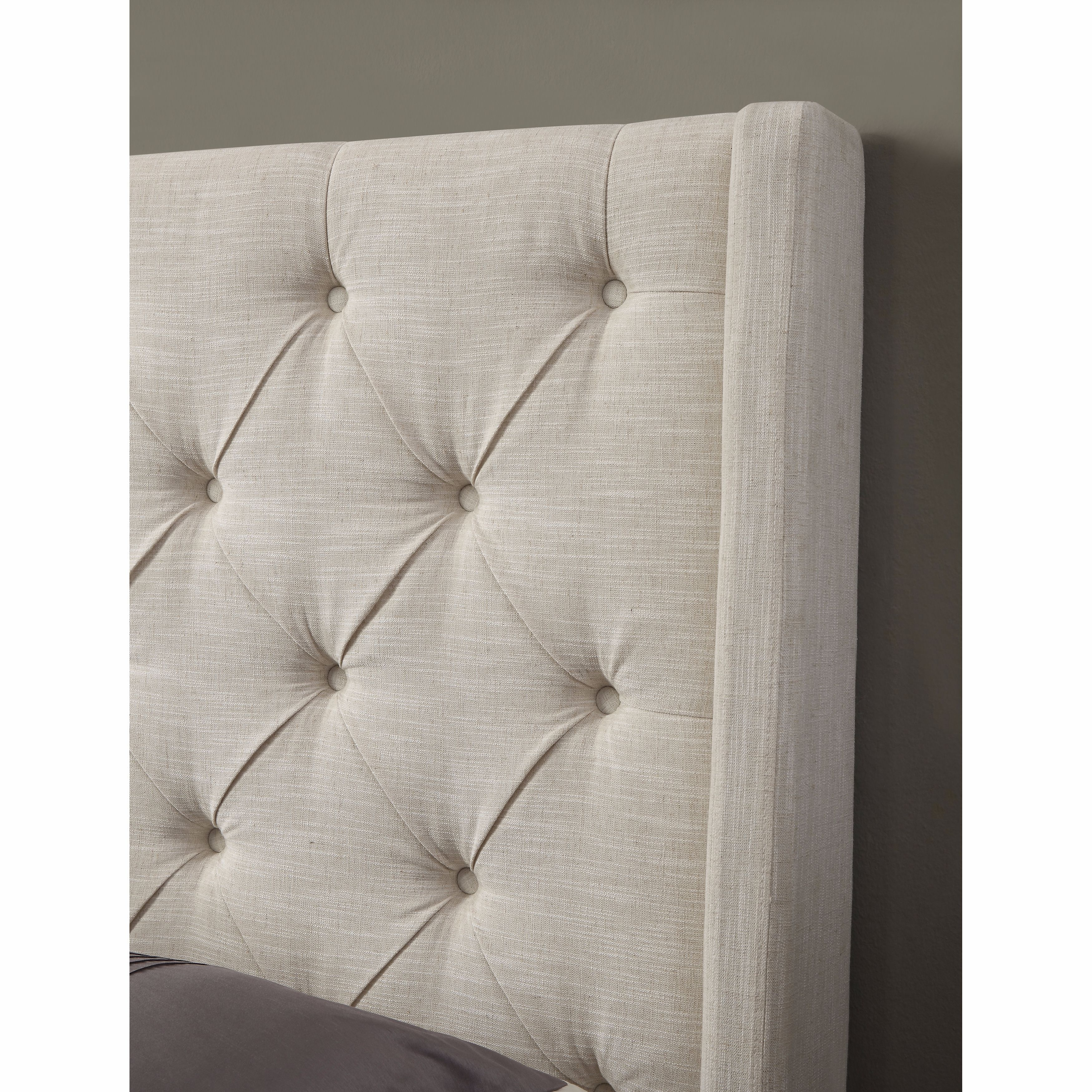Shop Black Friday Deals On Cream Wingback Button Tufted King Size Upholstered Bed Overstock 11589952