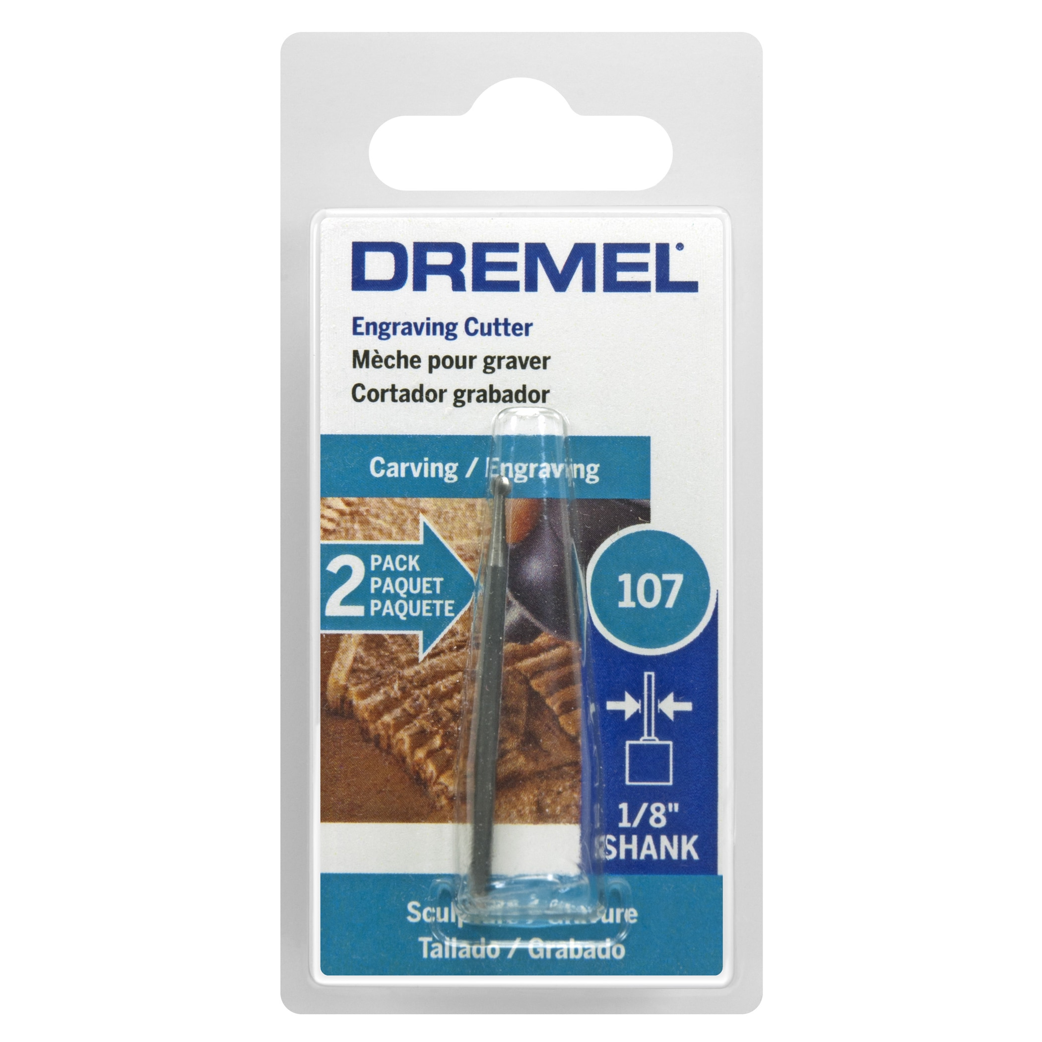 """Dremel 107-2 3/32"""" High Speed Engraving Cutter 2-count (P..."""