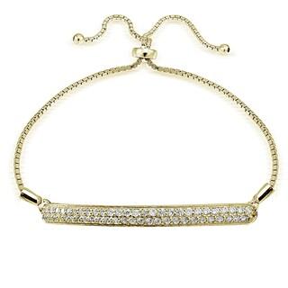 Icz Stonez Silver Cubic Zirconia 2-Row Adjustable Slider Bracelet