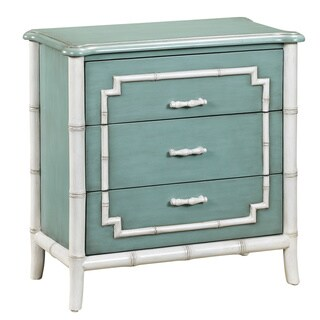 Blue and White Bamboo Trim Drawer Chest