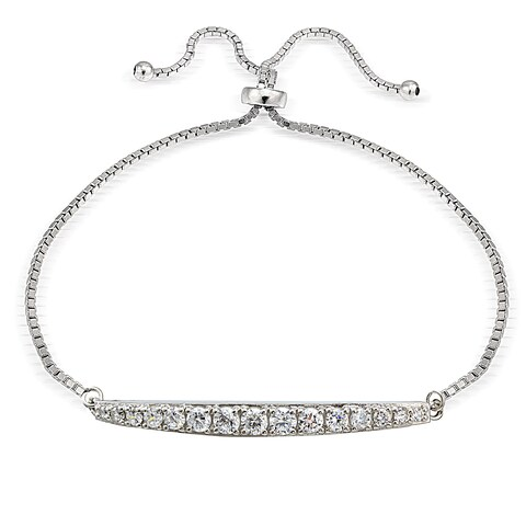 Icz Stonez Silver Cubic Zirconia Graduated Bar Adjustable Slider Bracelet