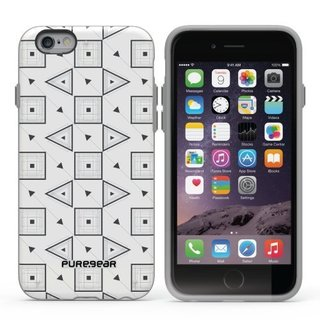 PureGear Slim Shell Motif Series Case for Apple iPhone 6/6S (4.7)-WHITE with BLACK GEO