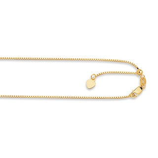 14k Yellow Gold Box Chain Necklace with Lobster Clasp