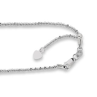 14k White Gold Adjustable Sparkle Chain Necklace with Lobster Clasp