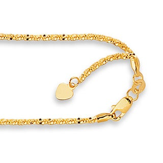 14k Yellow Gold Adjustable Sparkle Necklace with Lobster Clasp