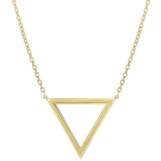 14k Yellow Gold Oval Link Necklace with Delta Symbol Anchor Pendant and Lobster Clasp